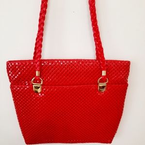 Vintage NWOT Red Square Mesh Sequence Purse Bag